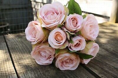 9  x PALE VINTAGE PINK SHADED BLUSH SILK ROSES & ROSE BUDS TIED BUNCH