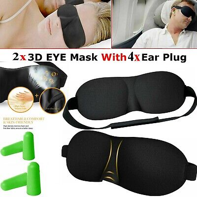3D Shaped Soft Padded Travel Eye Mask Rest Sleep Aid Shade Cover With Ear Plugs