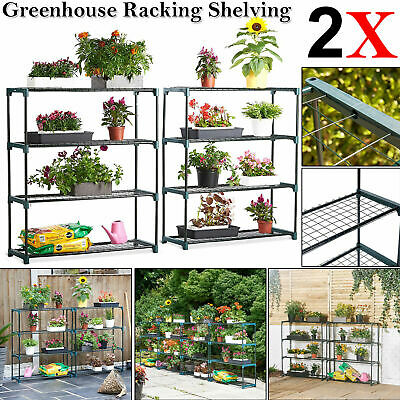 2X DOUBLE PACK 4 Tier Greenhouse Racking Shelving Flower Staging Display Storage