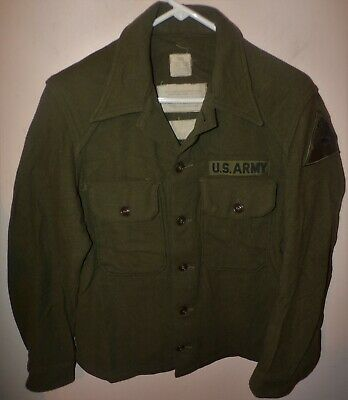 ORIGINAL U.S. ARMY OD WOOL SHIRT - 50th ARMORED DIVISION - DATED 1956 - SMALL