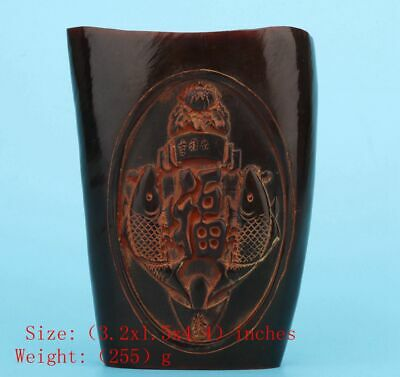 Precious China Yak Horn Wine Cup Hand-Carved God Wealth Mascot Decoration Gift