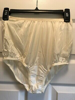 Vtg hi waist nylon semi sheer VANITY FAIR LACE IVORY panties briefs size 5/40