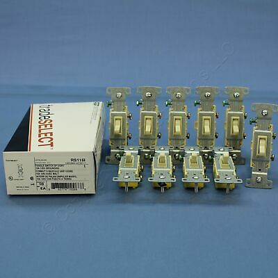 10 Hubbell RESIDENTIAL Ivory Single Pole Toggle Wall Light Switches 15A RS115I