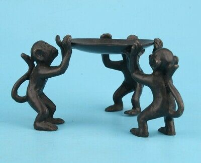 China Bronze Hand Casting Cute Monkey Candlestick Gift Collec Old