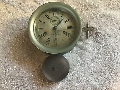 Vintage Seth Thomas Wind Up Ships Bell Clock for Repair or Parts
