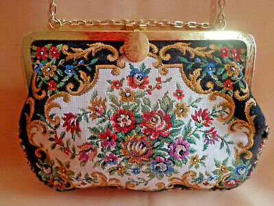 Vintage Needlepoint PURSE Petit Point Floral Tapestry Gold Frame, Chain & Clasp
