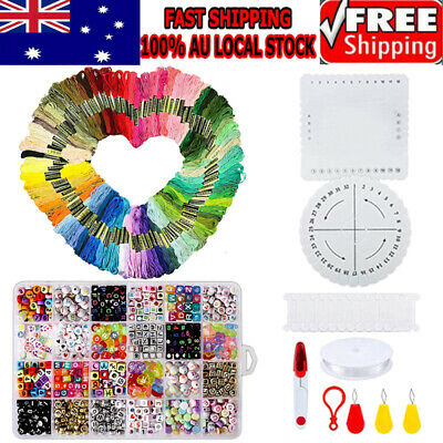 100 Coloured Egyptian Cotton Embroidery Cross Stitch Thread Floss +Letter Beads