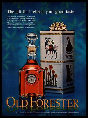 1964 Old Forester Bourbon Holiday Decanter Christmas Wrapped Gift Box Print Ad
