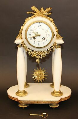 Beautiful Japy Freres White Marble Mantle Clock  Just Serviced!