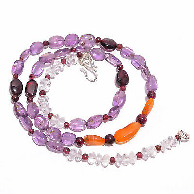 "Natural Amethyst Carnelian Garnet Gemstone Beads Necklace 3-14 mm 18"" UB-7874"
