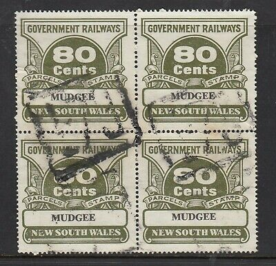 NSW GOVERNMENT RAILWAYS 1974 PARCEL STAMPS 80c block of 4, Used
