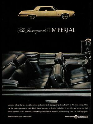 1964 Chrysler Imperial Crown Coupe & Convertible Leather Seats Vintage Print Ad
