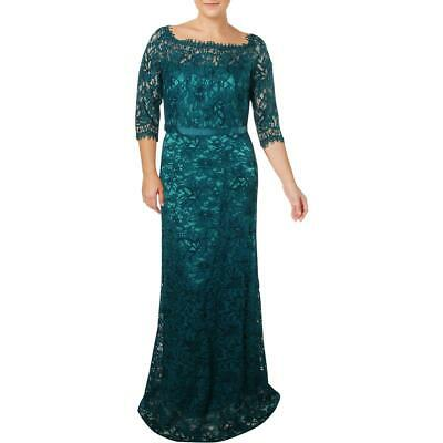 JS Collections Womens Blue Lace Formal A-Line Evening Dress Gown 4 BHFO 5131