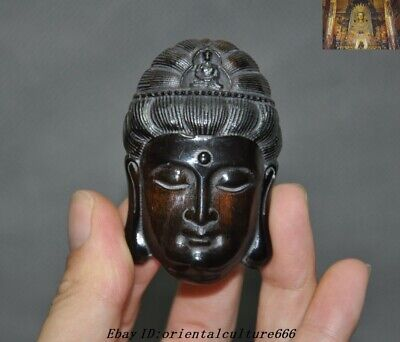 Old Chinese Buddhism Ox horn Carved Guanyin Kwan-yin Buddha Face Amulet pendant