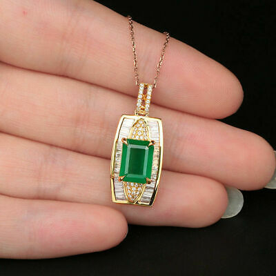 3Ct Green Emerald & Baguette Diamond Pendant Genuine Solid 14K Yellow Gold Over