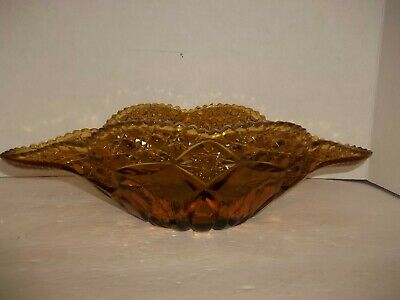 EAPG Colored Glass Cane Button Rose Amber Banana Boat Fruit Dish Scalloped Rare