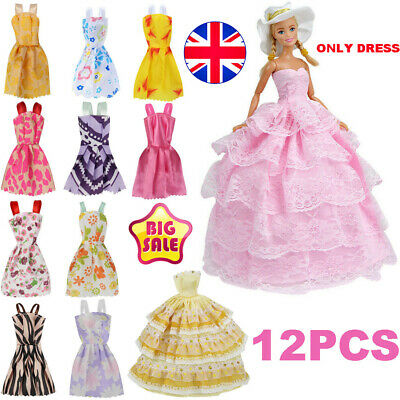 12Pcs Gown Dress Clothes Set For Barbie Dolls Wedding Party Prom Causal Decor❤️