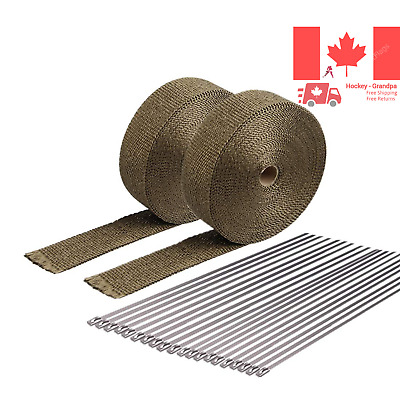HM&FC Titanium Exhaust Wrap Roll 50 Ft L 2 in W 0 06 in T Two Rolls
