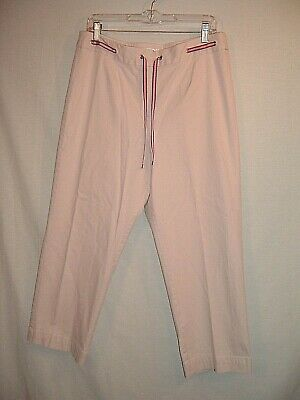 Womens TALBOTS Beige Capri Cropped Stretch Pants Size 14 Accent Drawstring Waist