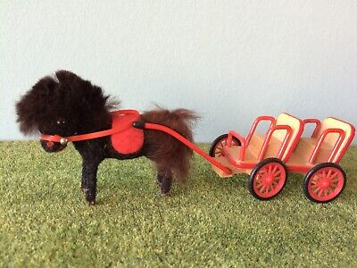 Pony Kutsche Wagner Künstlerschutz Puppenstube flocked animal pony with carriage