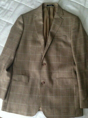 Ralph Lauren Wool Silk Linen Brown Beige Herringbone Jacket Blazer Mens 42L