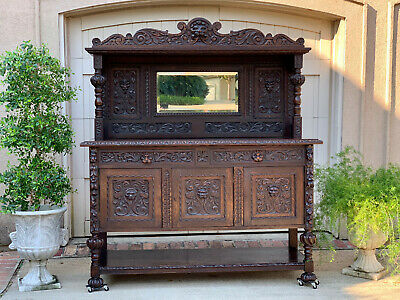 Antique English Carved Oak Sideboard Cabinet Mirror Renaissance Bookcase Gothic