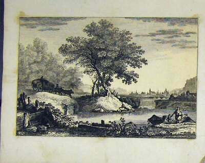 Original Old Antique Print Country Scene C1810 Horse Cart Trees River Engraving