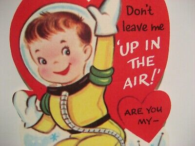 Vintage Valentine Card Astronaut Space Saucer Don't Leave Me Up N The Air UNUSED