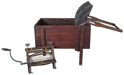 Primitive Antique Clothing Washing Stand Washer Basin Machine w Wringer Mangle