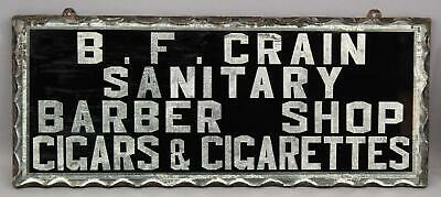 Antique Advertising Barber Shop Cigars Cigarettes Reverse Painted Glass Sign
