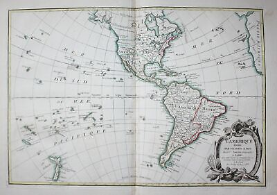 1783 America continent North South Amerika Janvier Karte map Kupferstich