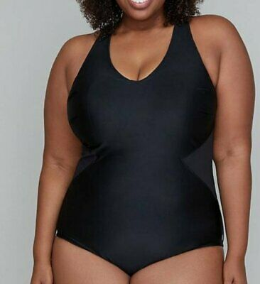 NWT Lane Bryant Ruched Halter One Piece Swimsuit Black Retro Retail $119
