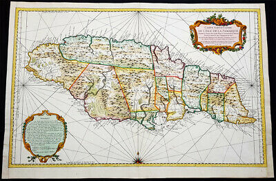 1758 J N Bellin Large Antique Map of The Island of Jamaica