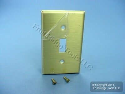 New Leviton 1-Gang Brass Toggle Switch Cover Wallplate Satin Switchplate 81001