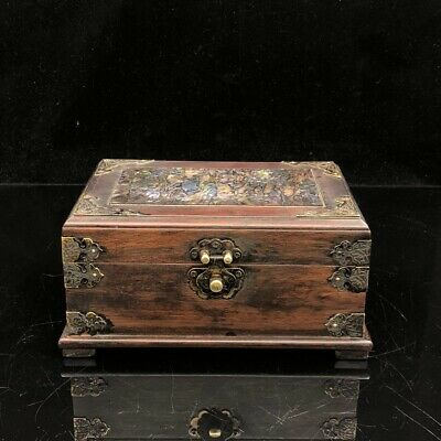 """8"""" Chinese old antique Redwood handcarved Mosaic shells Jewelry box"""