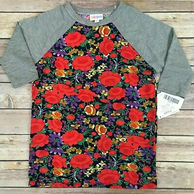 Size 8 SLOAN TEE LuLaRoe; Grey Sleeves, Red Roses & Multicolor Floral, FREE SHIP