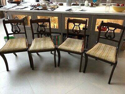 5 Regency Mahogany Dining Chairs 1 carver and 4 chairs Lyre back