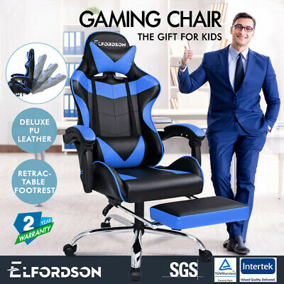 ELFORDSON Gaming Chair Office Executive Racing Footrest Seat PU Leather Blue