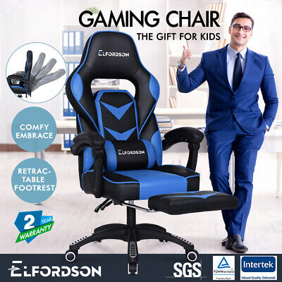 ELFORDSON Gaming Chair Office Seat Thick Padding Footrest Executive Racing Blue