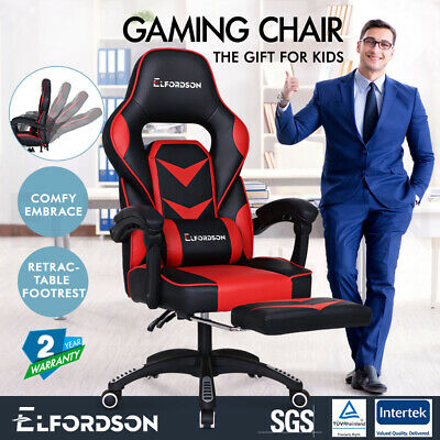 ELFORDSON Gaming Chair Office Seat Thick Padding Footrest Executive Racing Red