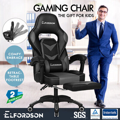 ELFORDSON Gaming Chair Office Seat Thick Padding Footrest Executive Racing Grey