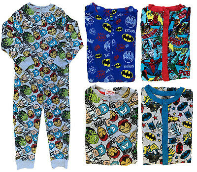 Boys Character All In One Sleepsuit Onezee One Piece Pyjamas Ex Store 3-13Y New