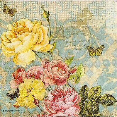 4x paper napkins decoupage/craft Vintage Flowers Yellow Pink Rose Butterfly