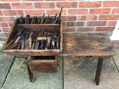19th Century Primitive English Antique Cobblers Leather Workers Bench & Tools