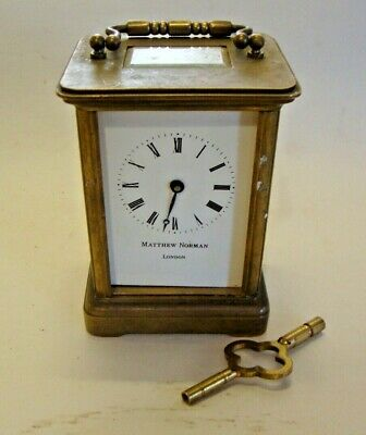 Vintage MATHEW NORMAN LONDON brass cased carriage clock with key