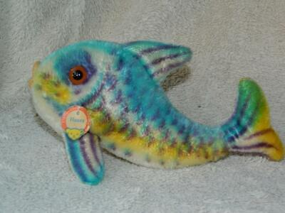 Steiff Vintage 1960-67 Blue Mohair Flossy Fish 2350,00 With Chest Tag No Button