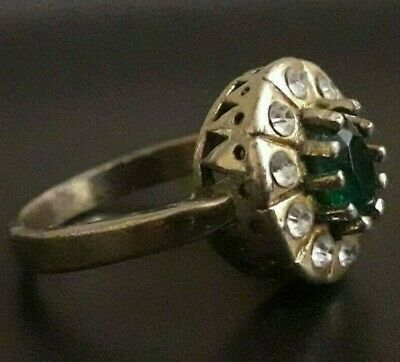 Rare Ancient Wedding Ring Viking Antique Jewelry Fabulous Unique Green Gemstone