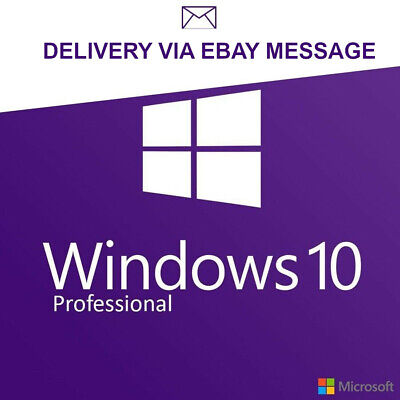 Microsoft Windows 10 Pro Genuine Activation Code 32/64 Bit - Key Only No Dvd -