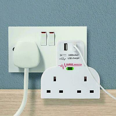 Surge Protected Double Socket Switch Plug 2 Gang Power Adapter Power 2 Usb Ports