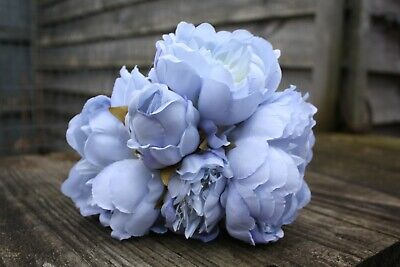 5 x VINTAGE PALE BLUE SILK PEONY FLOWERS & BUDS TIED BUNCH / SMALL BOUQUET